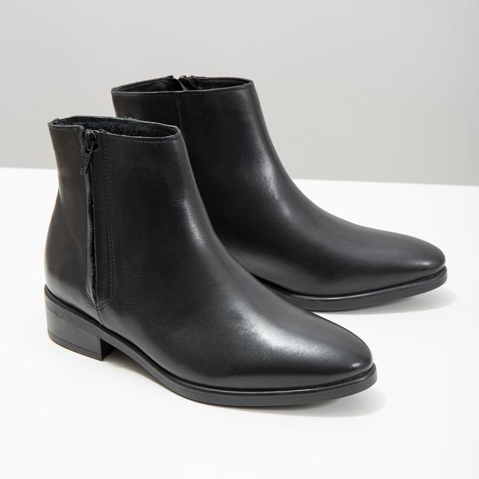 Czarne skórzane botki z suwakami bata, czarny, 594-6518 - 18
