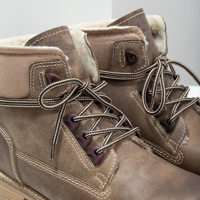 Skórzane buty zimowe zfuterkiem weinbrenner, brązowy, 594-2491 - 14