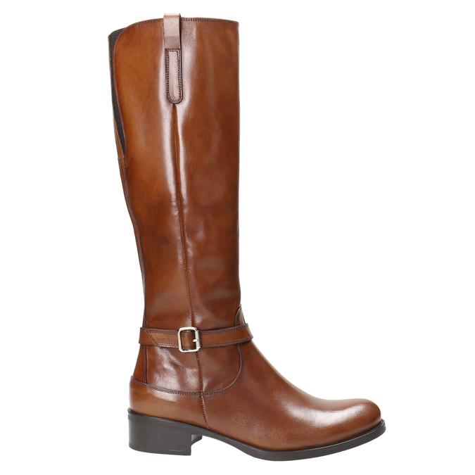 Brązowe skórzane kozaki bata, brązowy, 596-4665 - 15