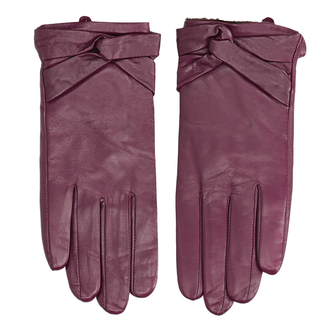 Skórzane rękawiczki damskie bata, fioletowy, 904-0109 - 26