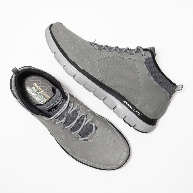 Skórzane buty męskie za kostkę skechers, czarny, 806-6327 - 26