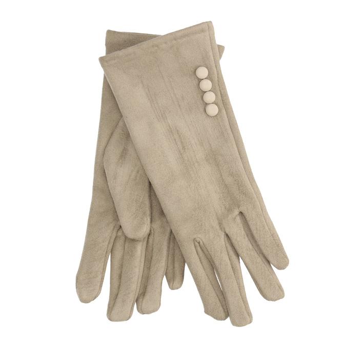 Rękawiczki damskie zmateriału tekstylnego, zguzikami bata, beżowy, 909-8612 - 13