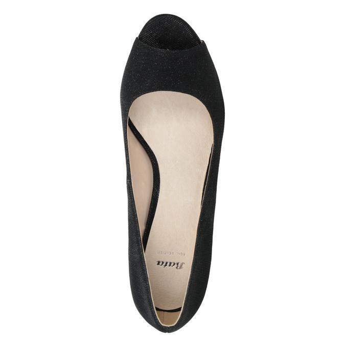 Czółenka zotwartymi noskami bata, czarny, 729-6610 - 15