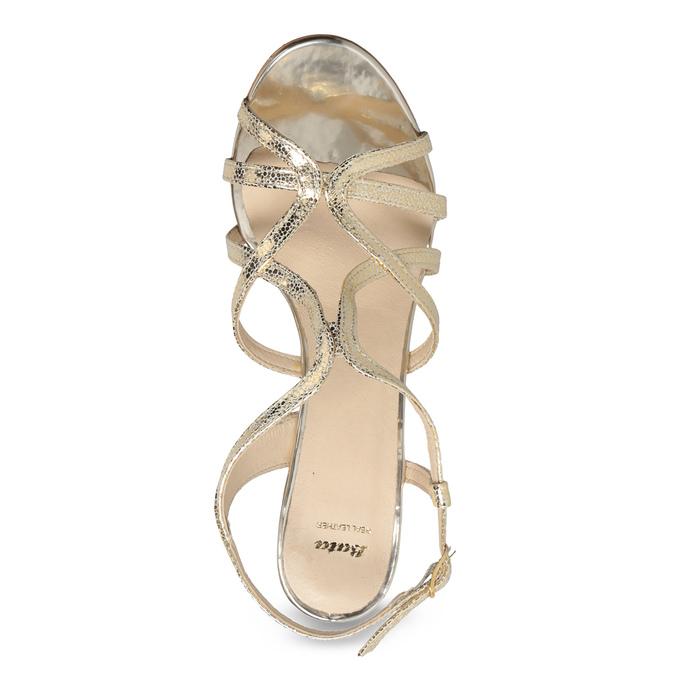 Wyjściowe złote sandały ze skóry bata, 726-8648 - 17
