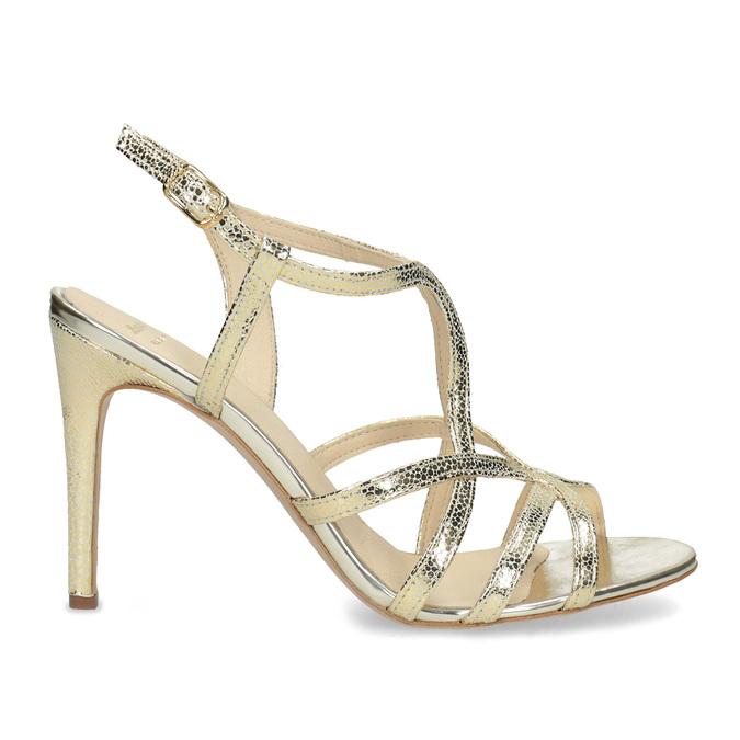 Wyjściowe złote sandały ze skóry bata, 726-8648 - 19