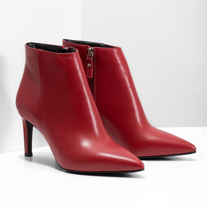 Czerwone skórzane botki bata, czerwony, 794-5651 - 26