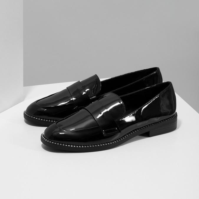 Lakierowane mokasyny damskie bata, czarny, 511-6607 - 16