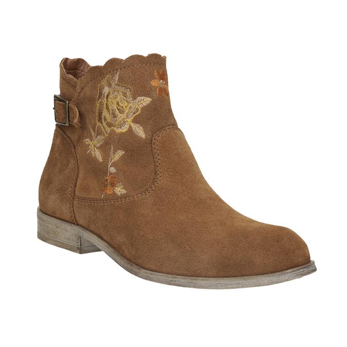 Skórzane botki zhaftem bata, brązowy, 596-4686 - 13