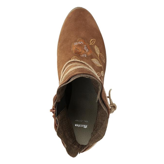 Skórzane botki zhaftem bata, brązowy, 696-4655 - 17