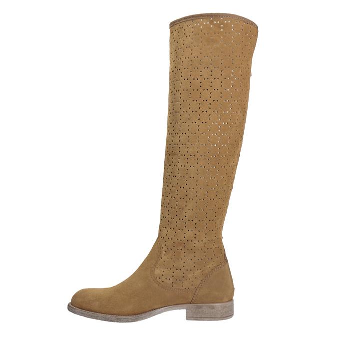 Perforowane kozaki damskie bata, brązowy, 596-4688 - 17