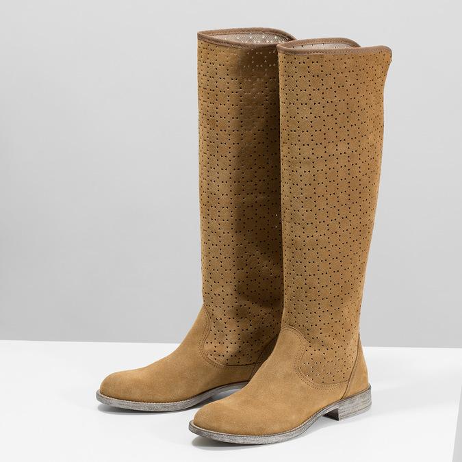 Perforowane kozaki damskie bata, brązowy, 596-4688 - 16