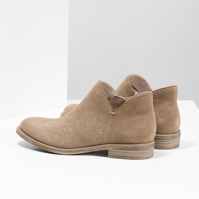 Skórzane botki bata, brązowy, 596-3685 - 16