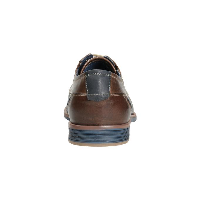 Brązowe skórzane półbuty wnieformalnym stylu bata, brązowy, 826-4929 - 16