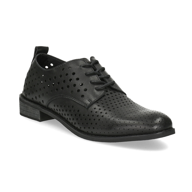 Półbuty damskie zwyraźną perforacją bata, czarny, 521-6610 - 13