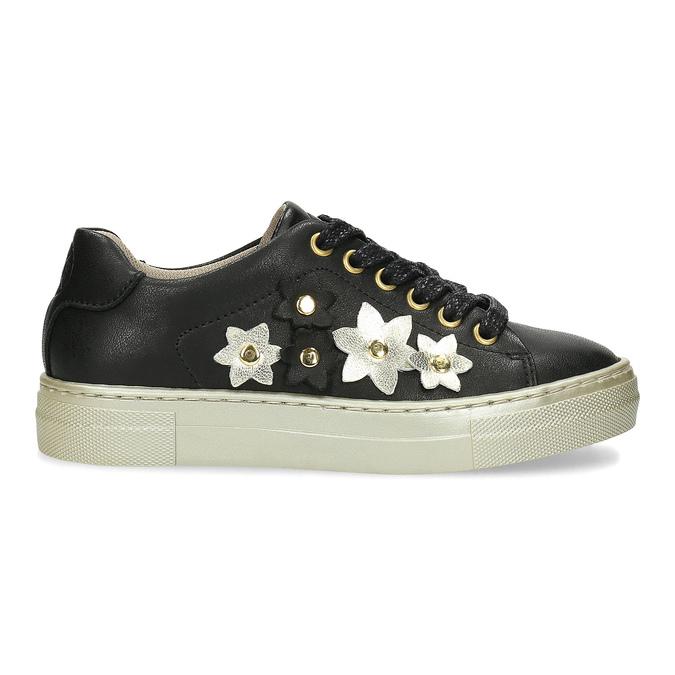 Skórzane trampki zkwiatkami mini-b, czarny, 324-6606 - 19