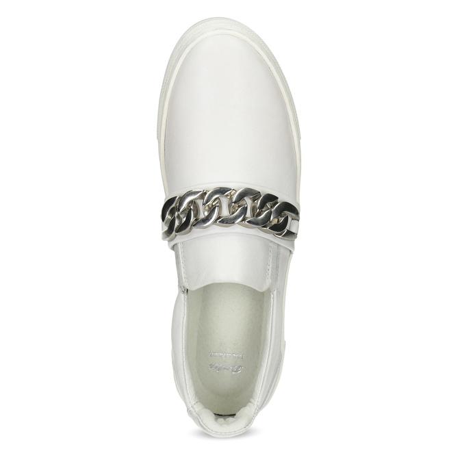 Skórzane slip-on damskie złańcuszkiem bata, biały, 514-1601 - 17