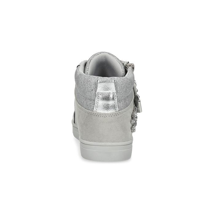 Srebrne trampki dziewczęce zkryształkami mini-b, srebrny, 329-2301 - 15