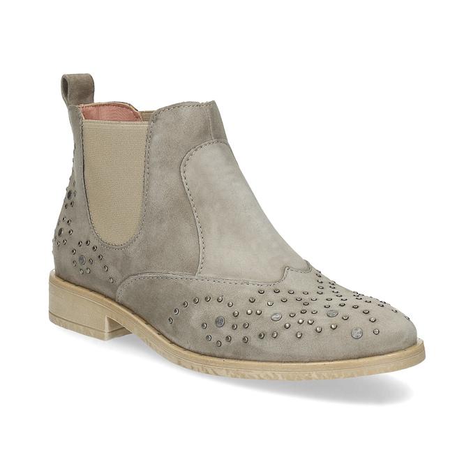 Skórzane botki zmetalowymi ćwiekami bata, szary, 596-2690 - 13