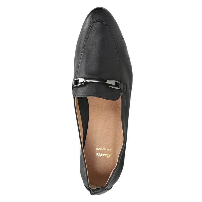 Skórzane mokasyny damskie zwędzidłami bata, czarny, 516-6619 - 17