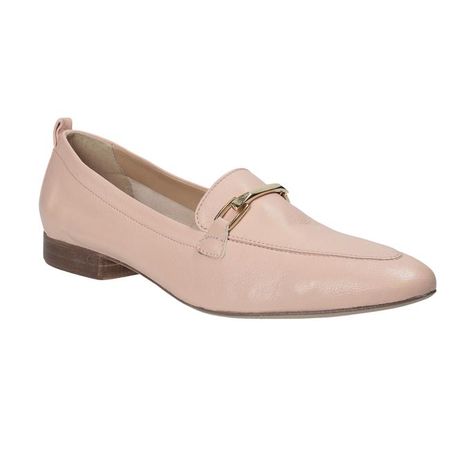 Różowe skórzane mokasyny damskie bata, 516-5619 - 13