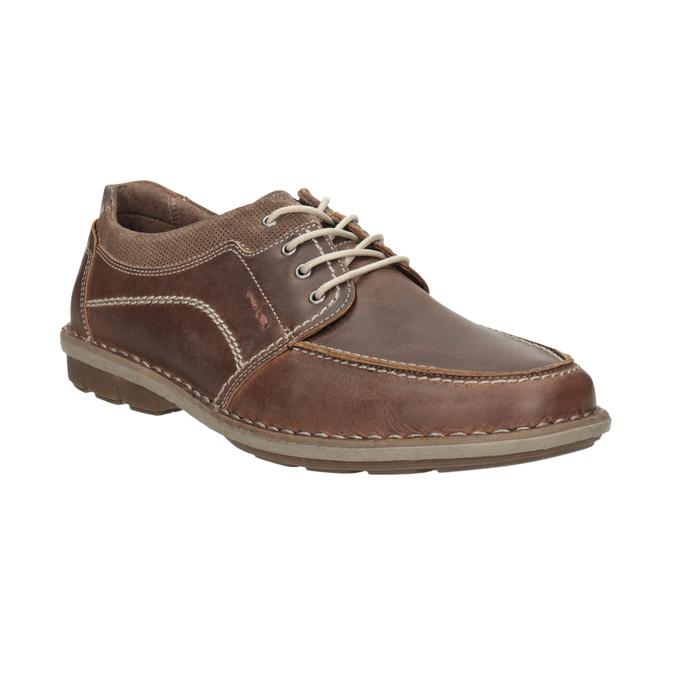 Brązowe skórzane półbuty męskie bata, brązowy, 826-4654 - 13