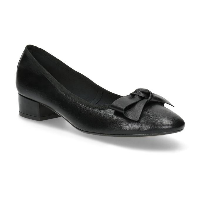 Czarne skórzane baleriny zkokardami bata, czarny, 524-6420 - 13
