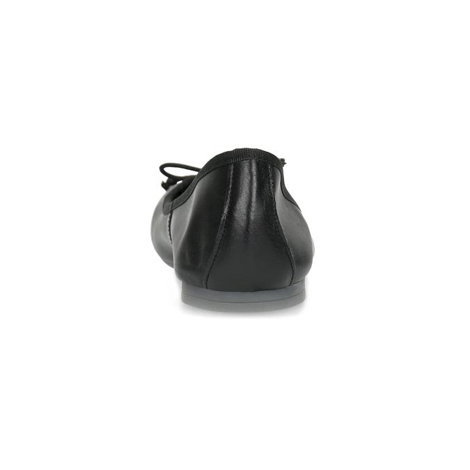 Czarne skórzane baleriny zkokardkami bata, czarny, 524-6144 - 15