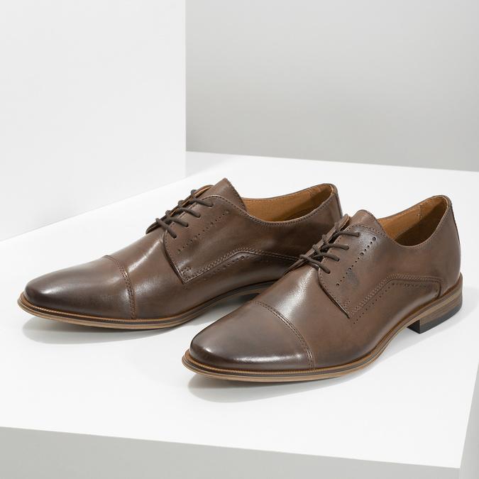 Skórzane półbuty męskie ze zdobieniami bata, brązowy, 826-4927 - 16
