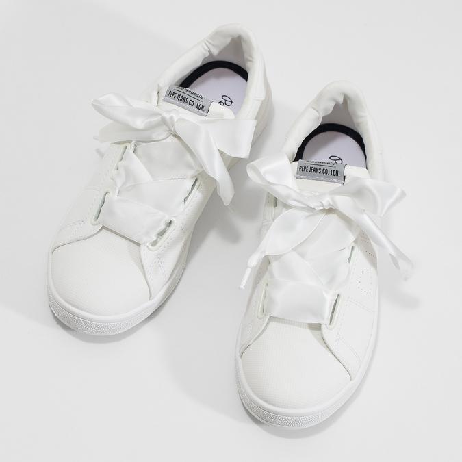 Białe trampki zsatynowymi wstążkami pepe-jeans, biały, 541-1076 - 16