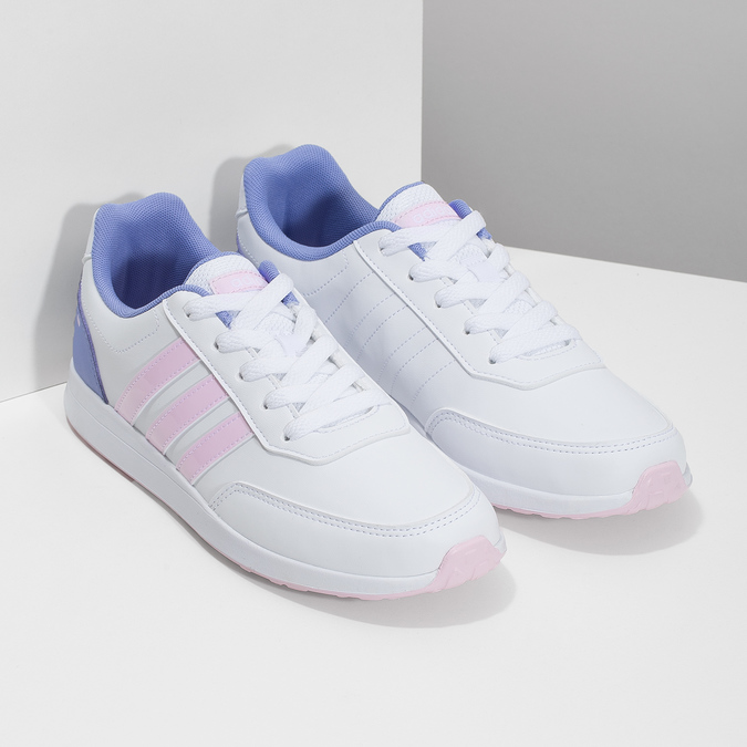 Białe trampki dziewczęce zróżowymi detalami adidas, biały, 401-1181 - 26