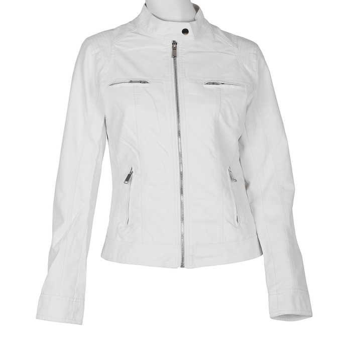 Biała kurtka damska ze skóry ekologicznej bata, biały, 971-1206 - 13