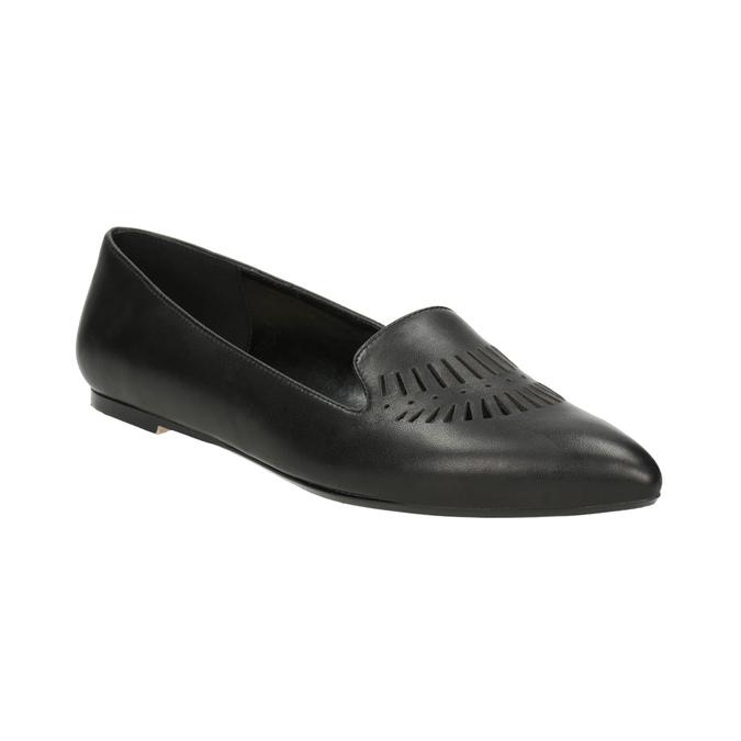 Skórzane loafersy damskie zperforacją bata, czarny, 524-6659 - 13