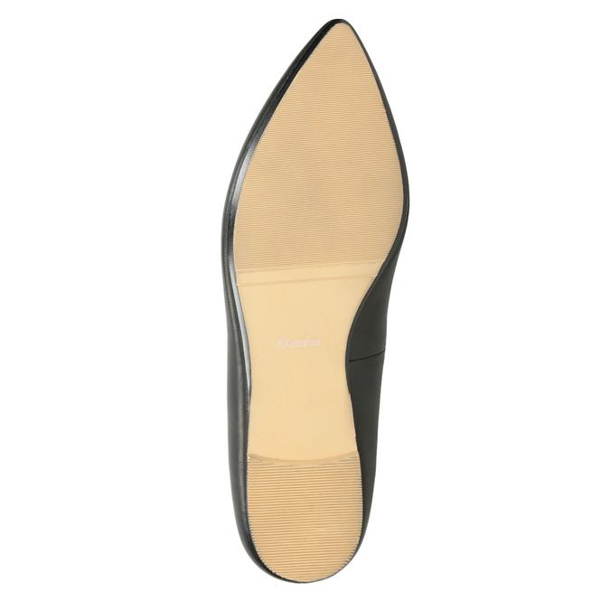 Skórzane loafersy damskie zperforacją bata, czarny, 524-6659 - 19