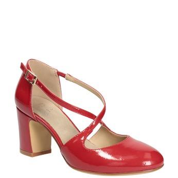 Lakierowane czółenka damskie insolia, czerwony, 721-5611 - 13