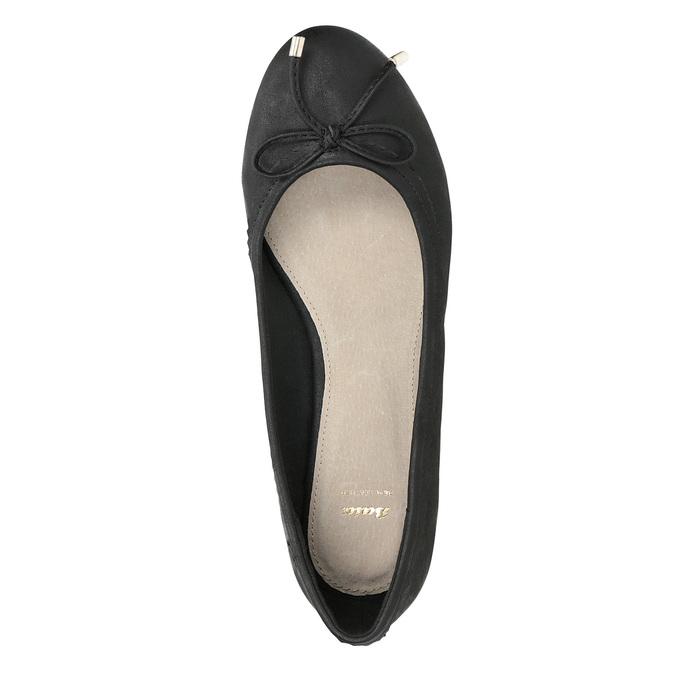 Czarne baleriny damskie zkokardkami bata, czarny, 521-6611 - 17