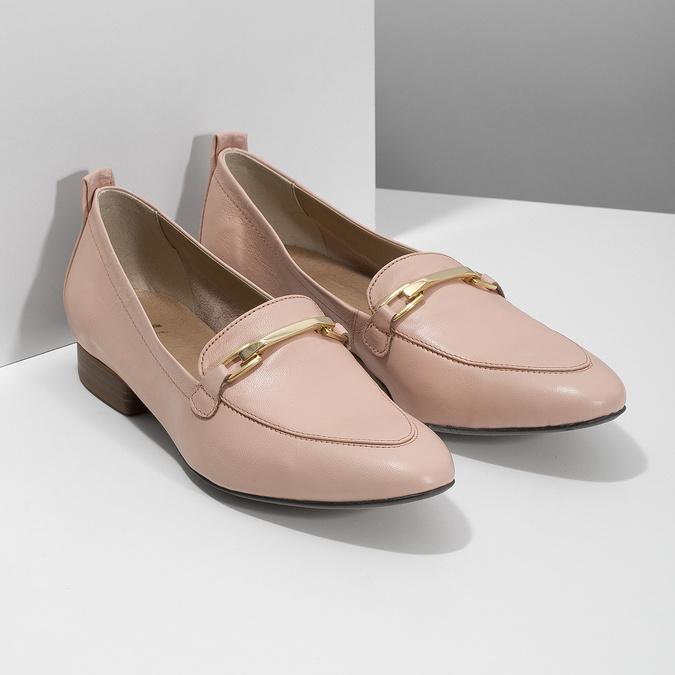 Różowe skórzane mokasyny damskie bata, 516-5619 - 26