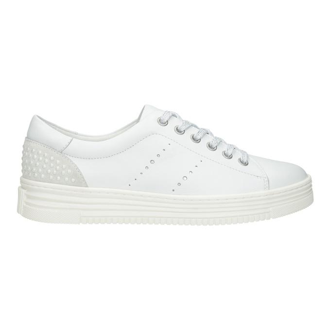 Nieformalne skórzane trampki damskie bata, biały, 544-1606 - 26