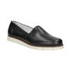 Czarne skórzane obuwie typu slip-on na kontrastowej podeszwie flexible, czarny, 536-6602 - 13