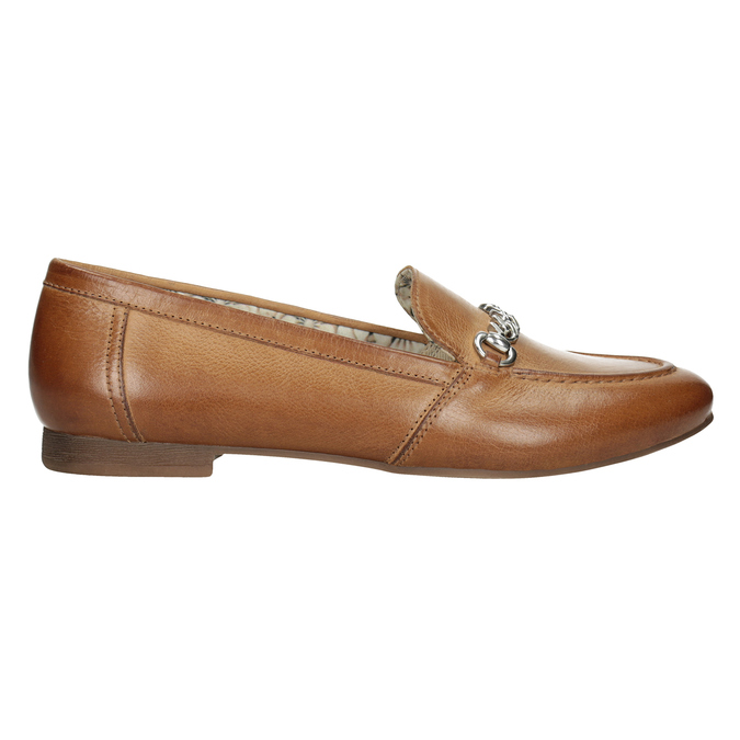 Brązowe mokasyny damskie zwędzidłami bata, brązowy, 516-3615 - 26