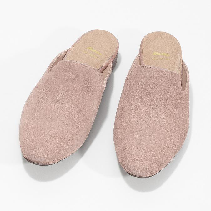 Skórzane mokasyny bez pięty bata, różowy, 516-5620 - 16