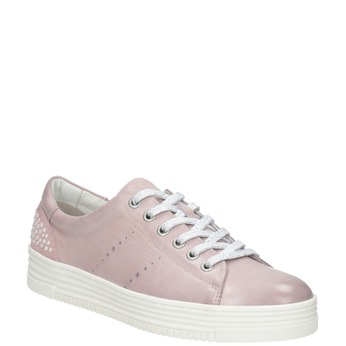 Różowe skórzane trampki zperełkami bata, różowy, 546-5606 - 13