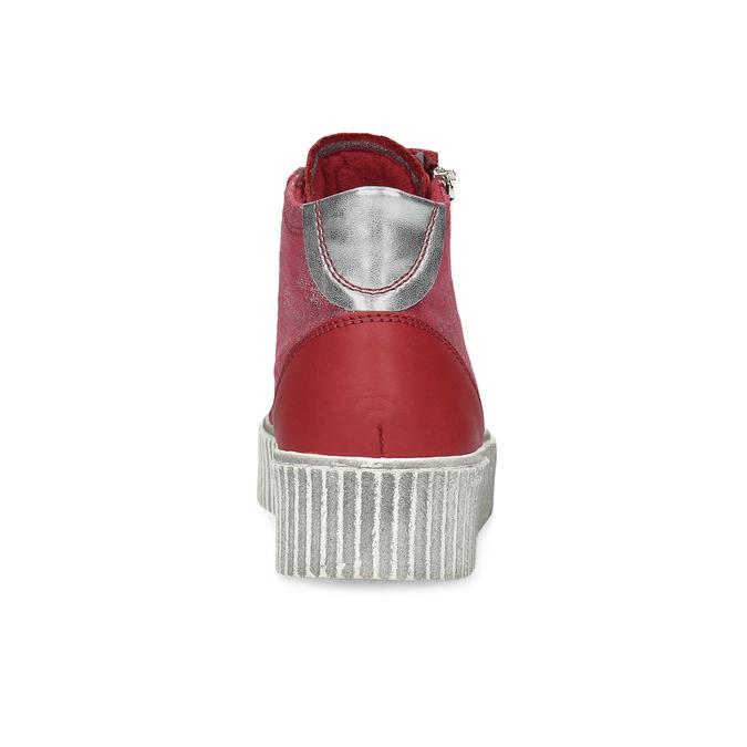 Czerwone skórzane trampki za kostkę bata, czerwony, 596-5692 - 15