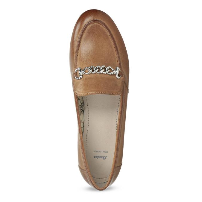 Brązowe mokasyny damskie zwędzidłami bata, brązowy, 516-3615 - 17