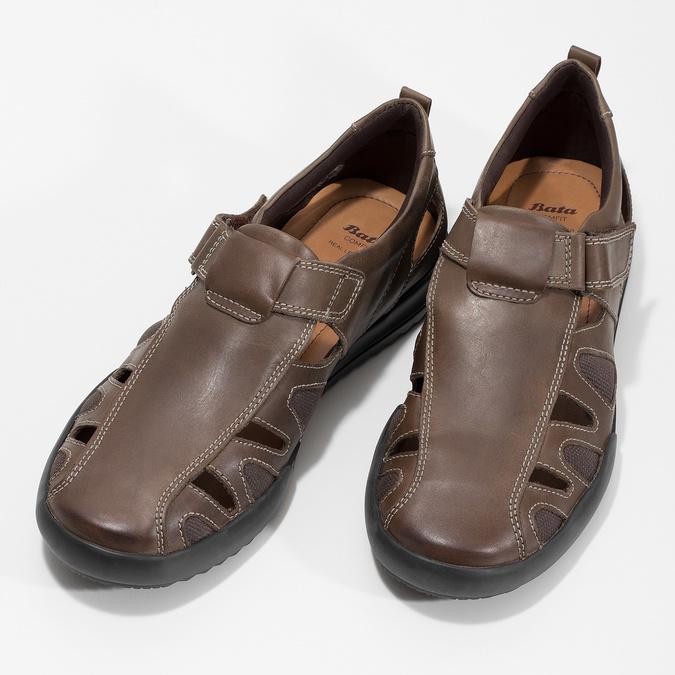 Skórzane sandały męskie comfit, brązowy, 856-4605 - 16