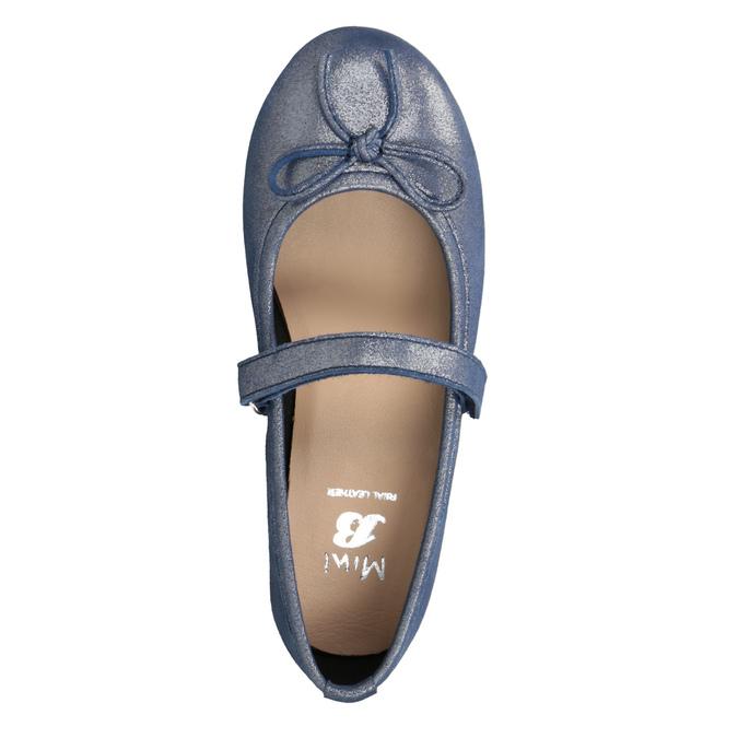 Niebieskie skórzane baleriny dziewczęce mini-b, niebieski, 326-9602 - 15