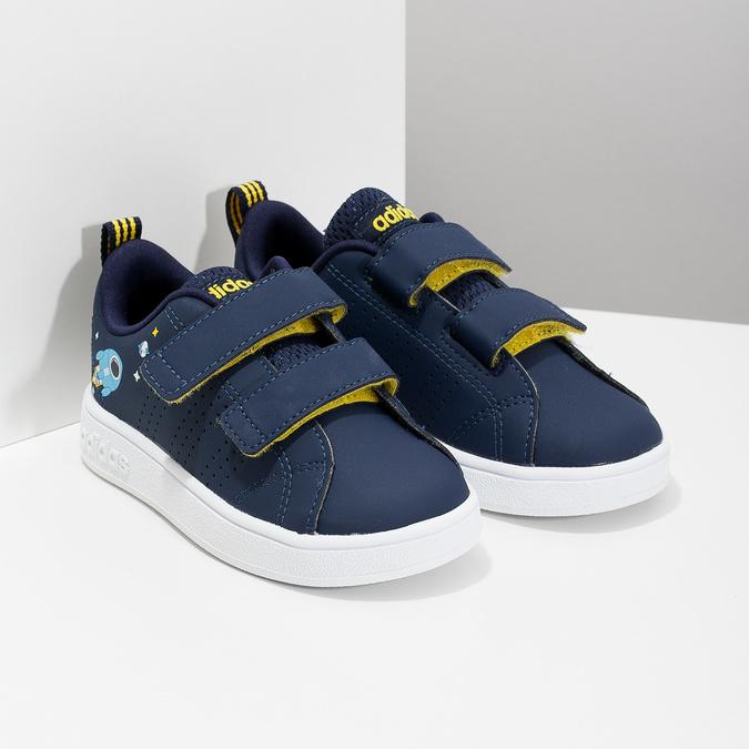 Granatowe trampki dziecięce na rzepy adidas, niebieski, 101-9129 - 26