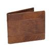 Skórzany portfel męski zperforacją bata, brązowy, 944-3192 - 13