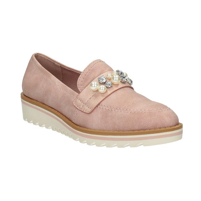 Mokasyny zperełkami, na platformie bata, różowy, 511-5610 - 13
