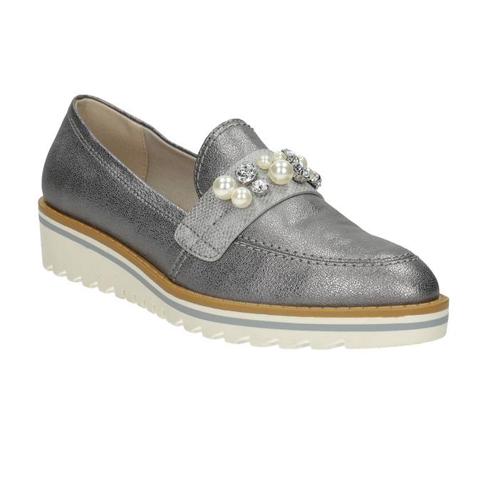 Srebrne mokasyny zperełkami bata, srebrny, 511-6610 - 13
