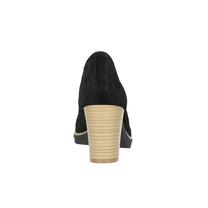 Skórzane czółenka damskie pillow-padding, czarny, 726-6650 - 16